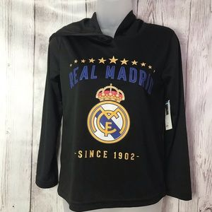 Real Madrid long sleeved hooded t shirt